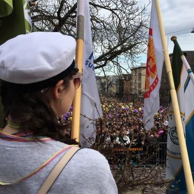 Viime vappuna Minnamari osallistui lippukulkueeseen. Kuva: ?