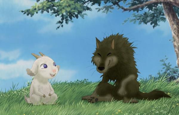 Ystävykset Mei ja Gabu piknikillä. (kuva elokuvasta Arashi no Yoru ni, 2005)