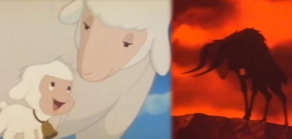 Chirin muuttuu söpöstä pehmolampaasta demoniseksi pässiksi. (kuva elokuvasta Chirin no Suzu, 1978)